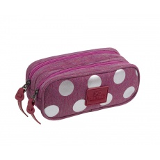 Piórnik saszetka 2 komory CoolPack Clever A575 Silver Dots/Pink Patio 84564CP